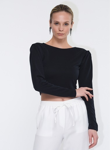 Tuba Ergin Omuz ve Sirt Detaylı Ophelia Sweatshirt Siyah